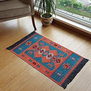 Modern Bohemian Style Small Area Rug, 2 X 3 feet, Washable, Natural Dye Colors, Two-sided (reversable), Perfect for Kitchen, Hallway, Bathroom, Bedroom, Corridor, Living Room (Turquoise-Orange)