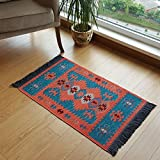 Secret Sea Collection Modern Bohemian Style Small Area Rug, 2' x 3' ft, Cotton, Washable, Reversible (Turquoise-Orange)