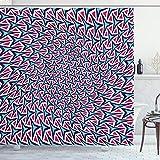 ABAKUHAUS Trippy Duschvorhang, Retro Hipster Zusammenfassung, mit 12 Ringe Set Wasserdicht Stielvoll Modern Farbfest & Schimmel Resistent, 175x180 cm, Dunkle Koralle Türkis Indigo