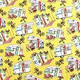 Henry Glass Baumwollstoff für Wohnwagen, Wohnmobil, Gelb,