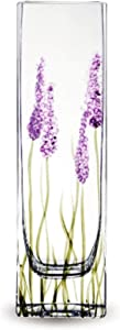 Jarrón de Cristal con diseño de Lavanda de Calidad, Color Morado, 21 cm