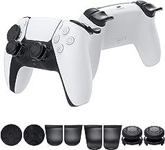 Kit de acessórios para controle PS5 DualSense, manoplas de polegar MENEEA + extensor de gatilho L2 R2 + botão de suporte p...