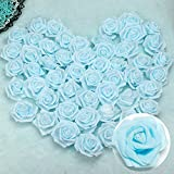 <span class='highlight'><span class='highlight'>Librao</span></span> 100pcs 2.8inch Foam Rose Heads Artificial Flowers Blue Wedding Bride Bouquet Party Decor DIY