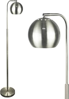 Mid Century Modern Floor Lamp by Lightaccents, Reading Light - Floor Lamp for Living Room - 59 Tall Brushed Nickel Finish