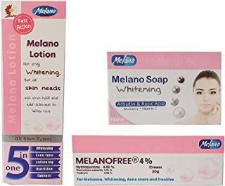 Melanofree Cream Set 3 in 1 Pack Lotion 300ml, Cream 30gm and Soap 100gm, Universal All Purpose fairness Melanofree Cream ...