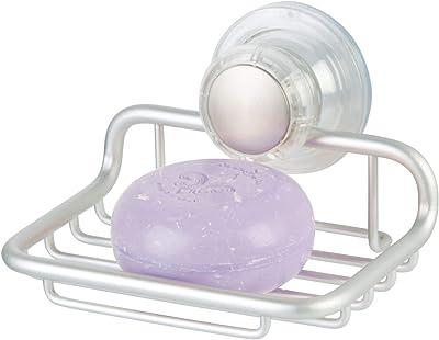 InterDesign 石鹸 ソープ トレイ 小物 吸盤 収納 防錆性アルミ 洗面所Metro シルバー 20110EJ