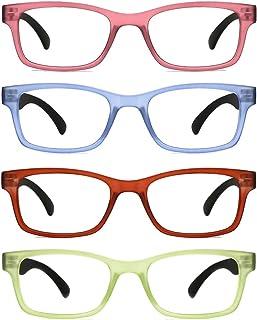 fcafee4c12 TIJN 4 Packs Screwless Comfort Reading Glasses Fashion Readers Eyeglasses  for Reading Men Women