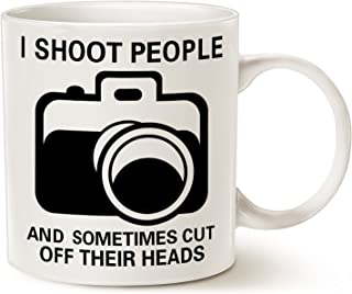 MAUAG Funny Photographer Coffee Mug Christmas Gifts, I Shoot People and Sometimes Cut Off Their Heads Unique Gag Gifts for Photography Lover Cup White, 11 Oz