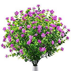 Artificial Outdoor Fake Flowers UV Resistant Shrubs Plants, 4 Bundles Faux Plastic Flowers Greenery for Indoor Outside Hanging Plants Home Porch Wedding Garden Patio Window Box Décor