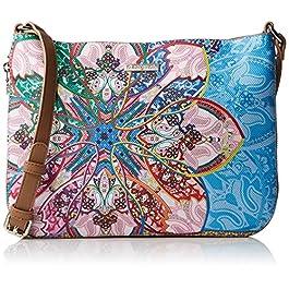 Desigual Bag Mexican Cards Molina Women, Sacs bandoulière femme, Bleu (Azul Agua), 2x23x30.5 cm (B x H T)