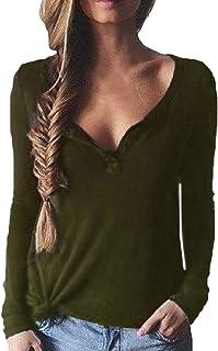 ba265993f1d ZANZEA Sexy Women Buttons Plunge Long Sleeve V Neck Blouse Shirt Loose Tops