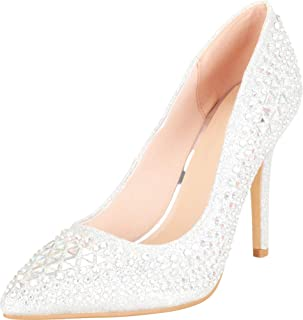 Cambridge Select Women's Pointed Toe Crystal Rhinestone Slip-On High Heel Pump