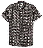 Marca Amazon – Goodthreads – Camisa estampada de manga corta de popelín y corte entallado para hombre, Pink Mini Floral, US XS (EU XS)