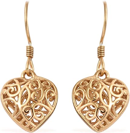 4261e1445 14K Yellow Gold Sterling Silver Openwork Dangle Drop Heart Valentines Earrings  Gift Jewelry for Women and