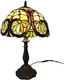 Lampe de Table Abat-Jour en Verre teinté Arbre à Fleurs + résine rétro créative Chambre Salon Salle à Manger étude Lampe d...