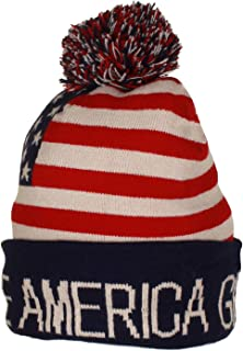 Trump Beanie Ski Cap Hat Make America Great Again Stars Stripes USA Flag with Matching Touch Screen Gloves