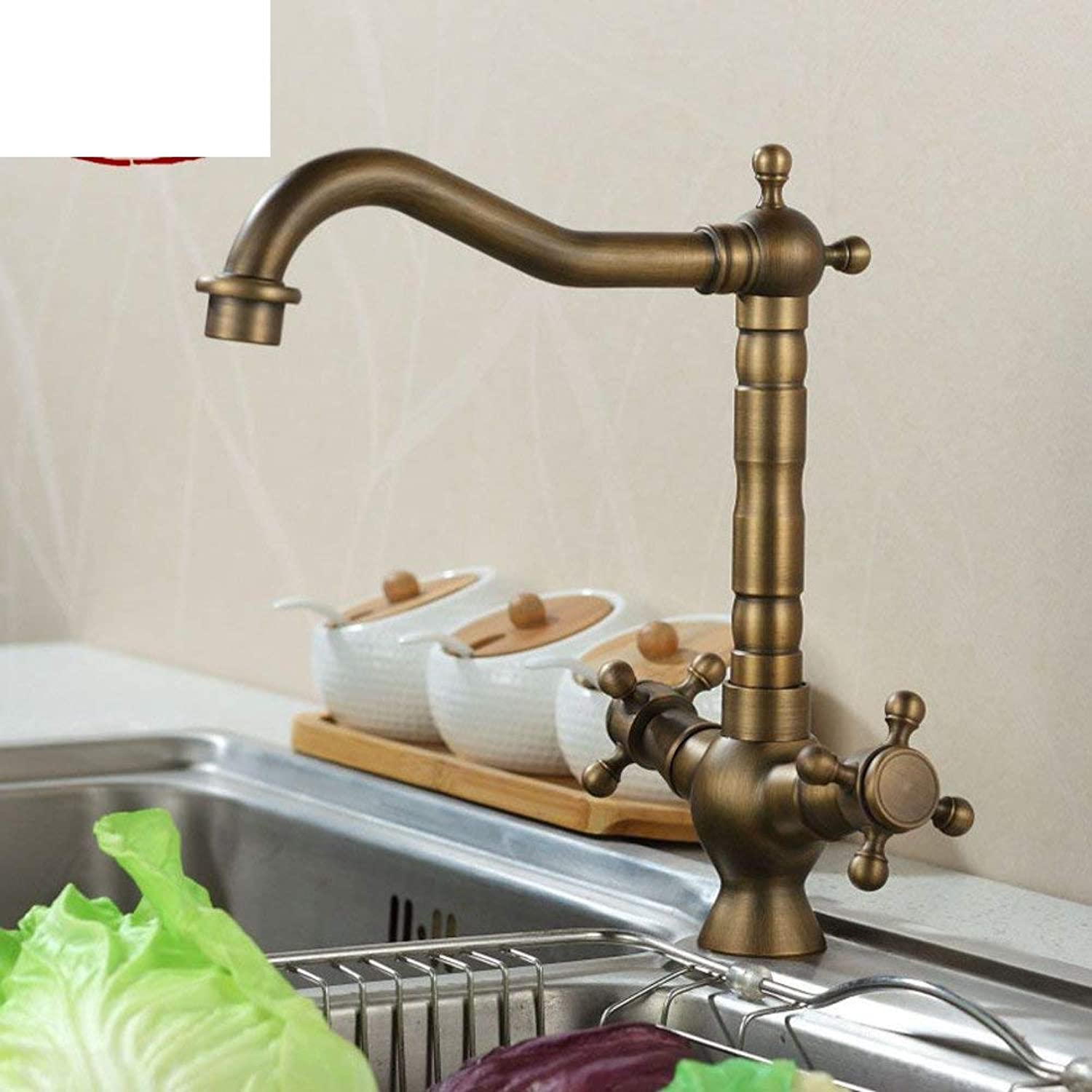 FuweiEncore European antique Double kitchen sink KITCHEN basin hot and cold taps All copper redatable-A (color   -, Size   -)