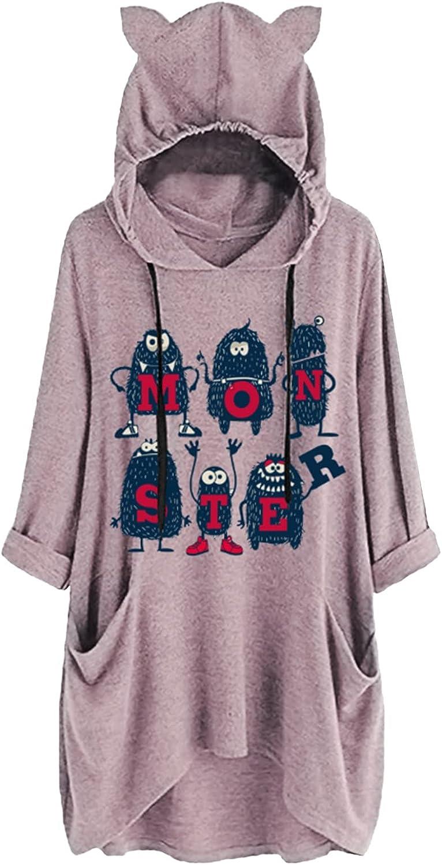 Mesa Mall Women's 3 4 Sleeve Hoodies Tops Funny Sayings Outlet SALE with Sweatsh Print