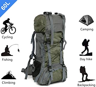 Mountaineering Hiking Backpack Camping Trekking Bag Outdoor Sports Daypack 60L Ultra Large Capacity Waterproof for Camping Fishing Backpacking Climbing Hunting Traveling Green