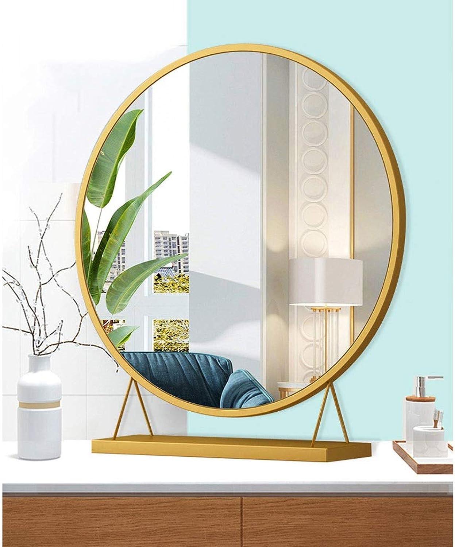 JUCAIYUAN Mirror Bathroom Mirror Wall Mounted Vanity Mirror, Wash Basin Mirror (color   golden, Size   30  10  34)