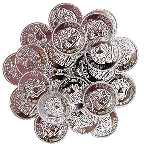 Toddmomy Monedas de Plstico Plateado Juguete Monedas de Juego Tesoro Monedas de Pirata Robo Monedas de Disfraz Suministros de Tema Occidental Casino Fiesta Favores Pirata Fiesta