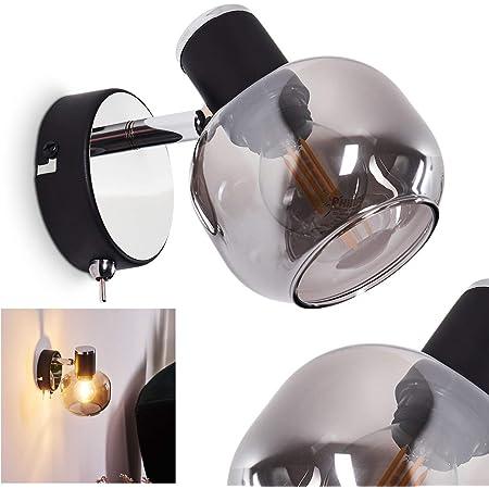 Edle LED Kugel Wandlampen mit Glasschirm für Festanschluss oder mit Netzstecker