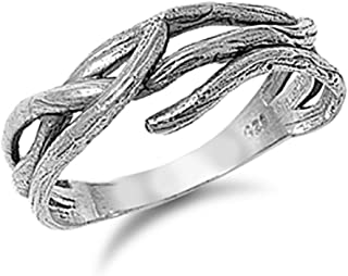 Women's Tree Branch Fashion Wood Ring New .925 Sterling Silver Band Sizes 5-10