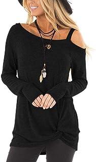 ZILIN Women's Cold Shoulder T-Shirt Long Sleeve Knot...