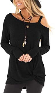 Women's Cold Shoulder Casual Solid T-Shirt Knot Twist Front Tunic Blouse Tops
