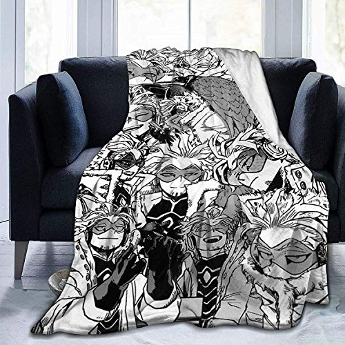 N \ A My Hero Academia Collage Comics Anime Manga BNHA Hawks Manga Flanell Überwurfdecke Ultra Soft Tagesdecke Mikrofaser Fleece Decke Durable Home Decor Ideal für Couch Sofa Outdoor