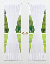RHF Voile French Door Curtains-Set of 2 Panels, 40W by 72L Inches, Sheer White