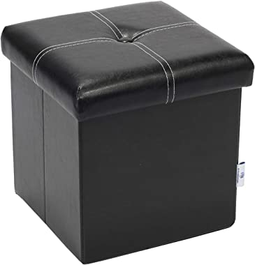 "B FSOBEIIALEO Storage Ottoman with Faux Leather Foldable Small Square Foot Rest Stools Coffee Table Black 11.8""X 11.8"" X 11.8"""