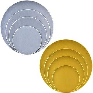 WENTS - Tableros redondos para tartas (8 unidades, base de cartón, base para decoración de tartas, apilables, 6 8 10 y 12 pulgadas de diámetro), color plateado y dorado (2,5 mm)