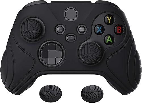 eXtremeRate PlayVital Samurai Edition Black Anti-Slip Controller Grip Silicone Skin, Ergonomic Soft Rubber Protective...