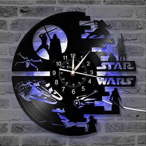 BFMBCHDJ Reloj de Pared con Registro de Vinilo Reloj LED Decoración para el hogar Regalos de películas para niños Lámpara Colgante Nocturna 7 Reloj Luminoso de Color sin LED 12 Pulgadas