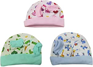 ShopCash New Born Baby Cap and Mitten Set (Multicolour, 0-3 Months) Pack of 3