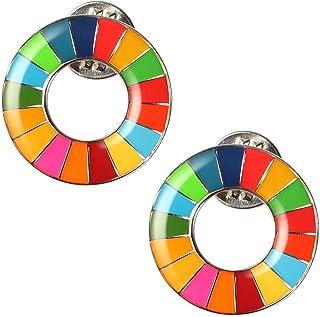 SDGs ピンバッジ バッチ バッジ 国連バッジ バッチ ピンバッジ 最新仕様 国連本部限定販売 丸み仕上げ(2個)