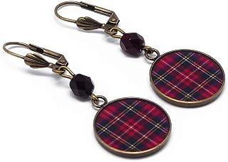Orecchini rosso Scozia tartan Outlander resina regali personalizzati Natale amici madre compleanno matrimonio cerimonia di...