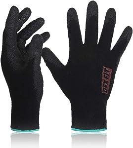 DEX FIT Warm Fleece Work Gloves NR450, Comfort Spandex Stretch Fit, Power Grip, Thin & Lightweight, Durable Water-Based Nitrile Rubber Coating, Machine Washable, Black Medium 3 Pairs