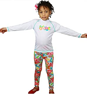 0b8a0641 Sun Emporium Floral UV Sun Protective Long Sleeve Swim Shirt & Leggings for  Girls- Sun