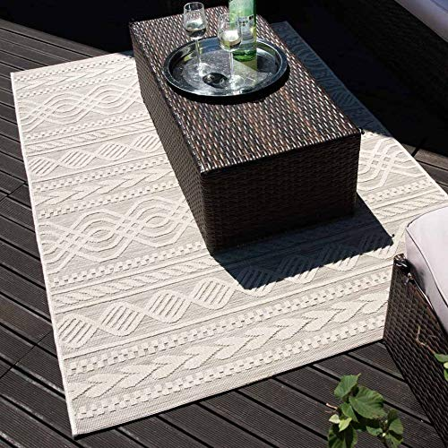 mynes Home Outdoor Teppiche In- & Outdoorteppich Flachgewebe Terrasse Garten Balkon geeigneter Teppich Skandi Shabby Weiss Beige 3D Struktur Wetterfest, Größe: 120 cm x 170 cm