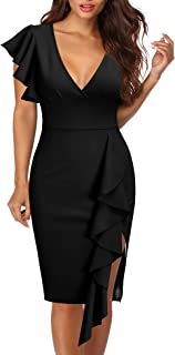 Women's Deep-V Neck Ruffle Sleeves Cocktail Party Pencil...