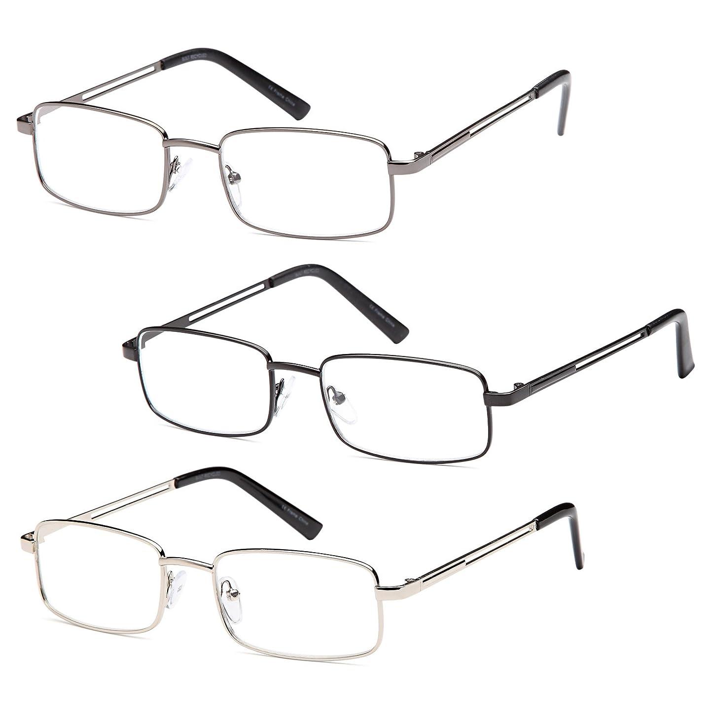 Gamma Ray Men's Reading Glasses - 3 pc Stainless Steel Flex Readers for Men - 1.50
