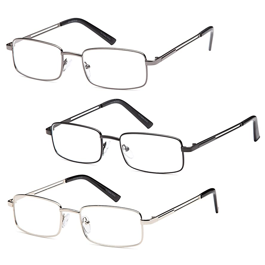 Gamma Ray Men's Reading Glasses - 3 Pairs Stainless Steel Flex Readers for Men
