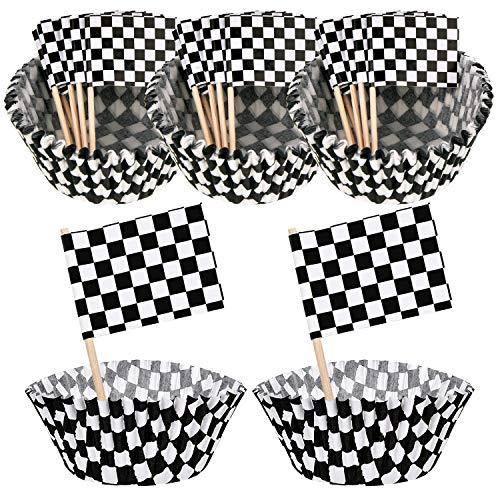 Cettkowns Paquete de 100 palillos de magdalenas a cuadros y 100 banderas de coche de carreras a cuadros en blanco y negro para decoración de pasteles