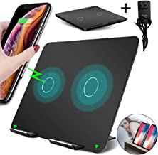 Dual Wireless Charger,Foldable 10W Qi Fast Wireless Charger Stand,Ultra-Thin Double Wireless Charging Pad for iPhone 11/11 Pro/11 Pro Max/XS/XS Max/8/8P and Samsung S10/S10+/S9/S9+(Adapter Included)