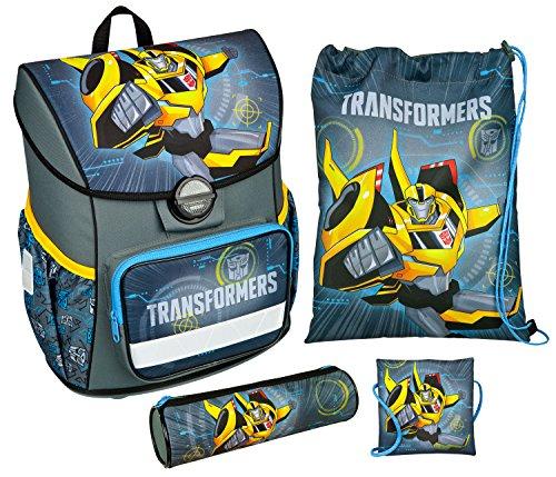 Scooli TFJK8371 - Schulranzen mit Schuhbeutel, Brustbeutel und Schlamperetui, leicht, ergonomisch, Transformers mit Bumblebee, 4 teilig