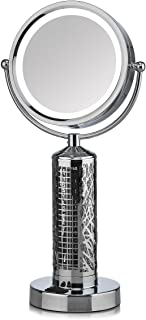 Fanity Two Sided Magnifying Lighted Makeup Mirror Vanity Mirror with Built In Two Speed Cooling Fan Air Circulator, 5x Magnification