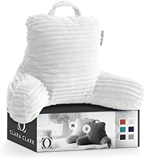 Clara Clark Cut Plush Striped Reading Kids & Teens, Medium Back Support, Shredded Memory Foam Bed Rest Pillow with Arms, S...
