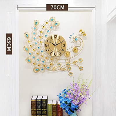 Creative Quartz Atomic Wall Clock, Home Decorative Clock 3D Big Peacock Silent Non Ticking Battery